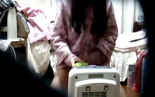 oriental sweetheart on hidden camera at home