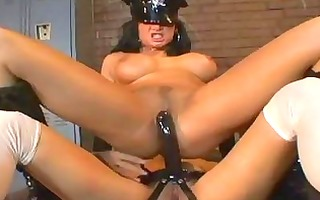 darksome haired lesbian cop with large breast