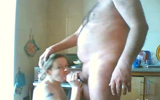 wife sucks my dong off in the kitchen
