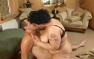 big beautiful woman love in his living room