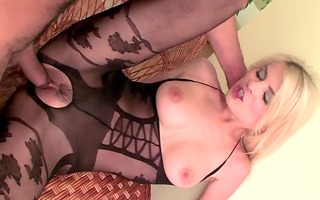 blond sex in a bodystocking