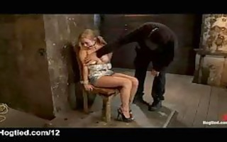 tied golden-haired gagged and vibed in chair