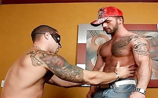 masked homo hunk got his huge shaft blown out