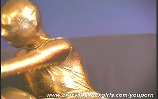 arwen in golden spandex catsuit