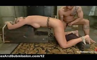 tied blond flogged and screwed and throat cummed