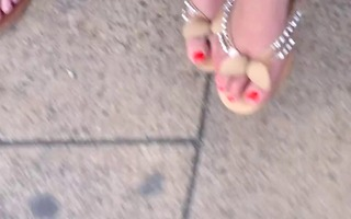 candid woman feet faceshot