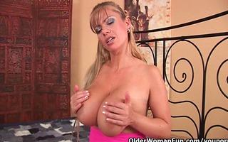 older mamma with xxl tits sucks knob and receives