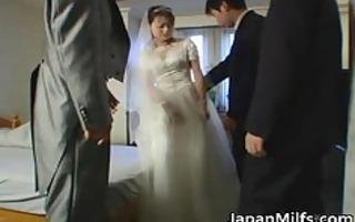 oriental bride acquires hardcore group fucking