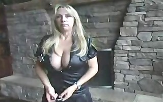 wife clothed as a cop eats some nut