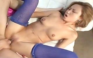 skinny oriental hotty takes a thick pounder down