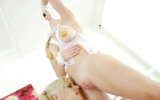 two hot lesbos with pink toy