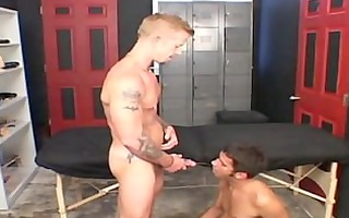 a sexy daddy voids urine in a lads face hole and