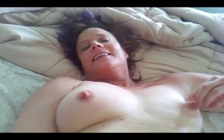 masturbating milf with three-some knob and a