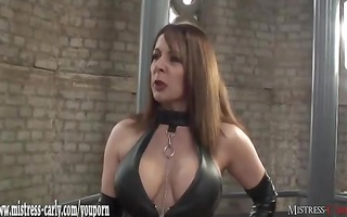 hawt female-dominant in latex spanks maid and