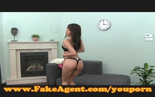 fakeagent cute japanese gal takes giant facial
