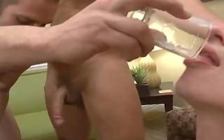 dad feeding twink cum shots