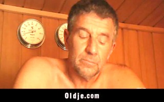 sexy oldyoung fucking in the sauna