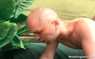 slutty hairless is engulfing a large white knob