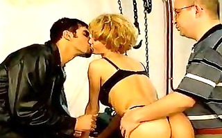 very lustful vintage hottie team-fucked by knobs