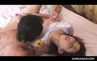 jap group sex with lusty sweetheart snatch toyed