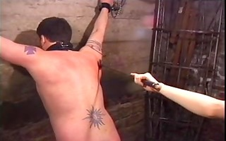alluring asian latex goddess whips him and puts