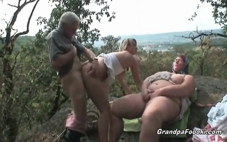 older man copulates sexy golden-haired sweetheart