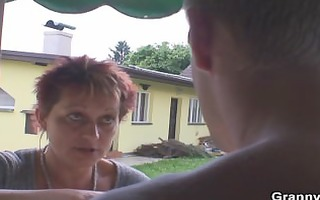old granny rides neighbours large cock