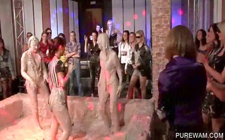 dressed hoes receive bawdy in a mud fights
