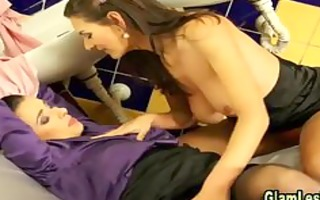 excited classy lesbo ties up sweetheart