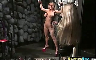 breasty golden-haired bondman getting punished