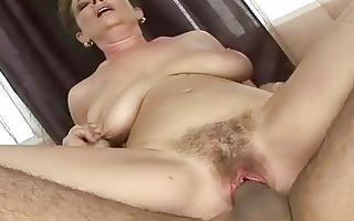 granny receives her bushy cum-hole screwed