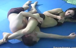 mistress defeats a sissy lad by smothering and