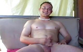cute nerdy homosexual chap wanks off his large