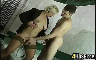 aged russian fucking in the washroom