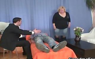 golden-haired grandma gets slammed by ramrods