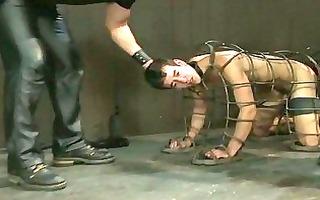cute homosexual man got caged adn then bondaged