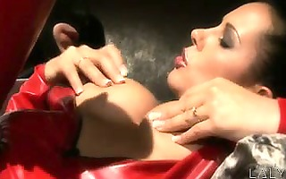 laly vallade is being pounded in a full body red