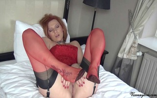 red ff stockings footjob &; cum over feet