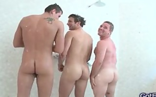 hot homosexual three-some having joy underneath