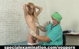 shy blond and lewd gynecologist