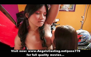 sexy brunette hair lesbo pair dancing and