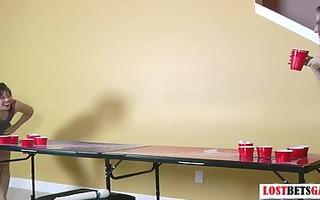 beautiful cuties play disrobe beer pong