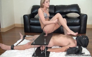 charming foot female-dominator shows off her