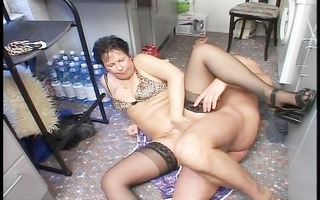 married pair have a quickie in the kitchen