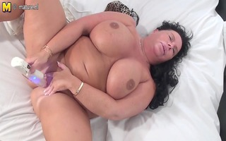 large breasted older slut getting soaked as hell