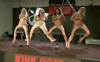gang of hot gals using electric fuck machines to