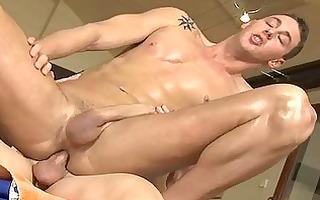 homosexual massagist is giving man a oral-job