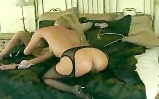 hot golden-haired lesbian babes in darksome