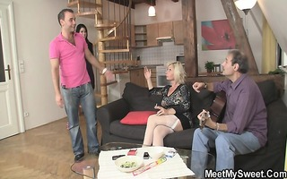 stud leaves for booze when his parents fuck his gf