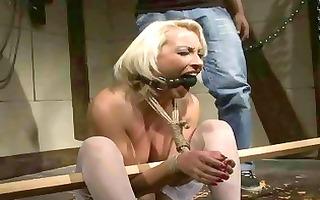 older blond acquires bondaged and punished